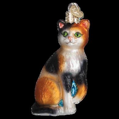 Calico Cat Glass Ornament