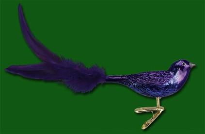 purple martin clip on bird Old World Christmas Glass Ornament 18071