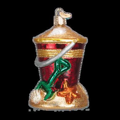 Beach Bucket Glass Ornament