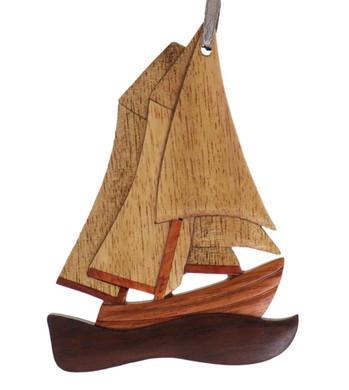 Sailboat Intarsia Wood Ornament