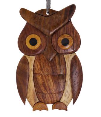 Owl Intarsia Wood Ornament