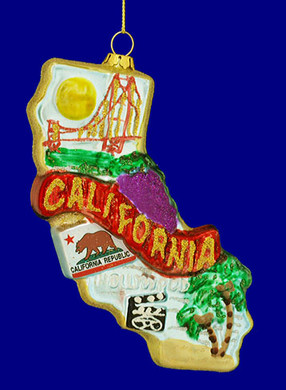 """State of California Ornament, Glass, 5 1/2"""", #KAT0738"""