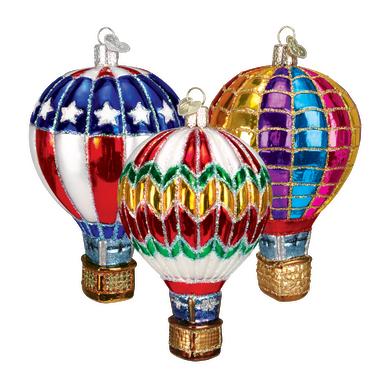 Hot Air Balloon Glass Ornament