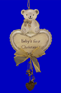 "Bear with Heart Baby's First Christmas Ornament, 6 1/4"", #KAT0836"