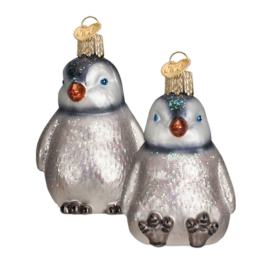 Baby Penguin Chicks Glass Ornament