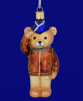 Bear Air Force Old World Christmas Glass Ornament 12401