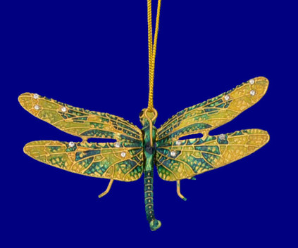 "Cloisonne Articulated Dragonfly Ornament, Gift - Green, Yellow, 3"" wingspan, #KU7453"