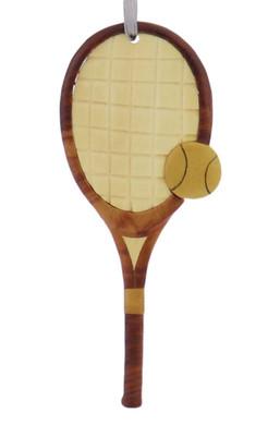 Tennis Racket Intarsia Wood Ornament