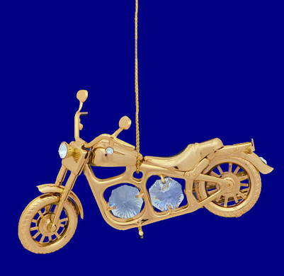 Motorcycle Ornament - Harley - 24k Gold Plated with Crystals, #CYC0368