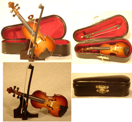 Mini Violin 4 pc Gift Set  Decor Wood with Bow Case Stand 4 Small