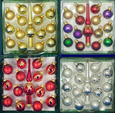 """Miniature Christmas Ornaments plus 5 1/2"""" Mini Tree Topper, 15 pc Set, 1 1/8"""", #KAGG0323"""