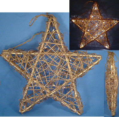 Large Grapevine Star Decor Tree Topper Indoor Only 20 Lights 13