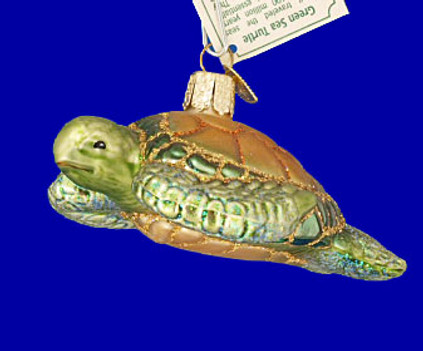Sea Turtle Old World Christmas Glass Ornament 12167