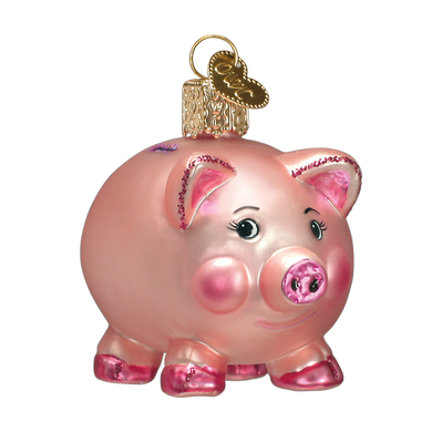 Piggy Bank Glass Ornament