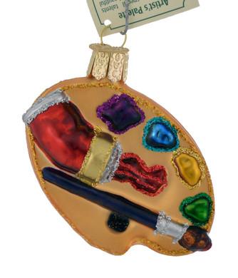 "Artist Palette Glass Ornament, 2 3/4"", OWC #36065"
