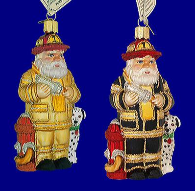 fireman Old World Christmas Glass Ornament 40109
