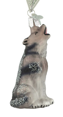 "Howling Wolf Glass Ornament, 3 3/4"", OWC #12163"