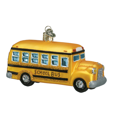 School Bus Glass Ornament