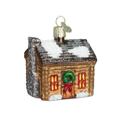 Log Cabin Glass Ornament