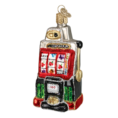 Casino Slot Machine Old World Christmas Glass Ornament 44038 front