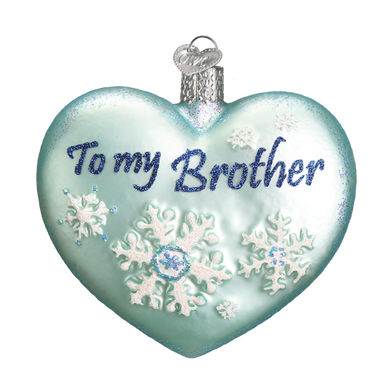 Heart for Brother Glass Ornament