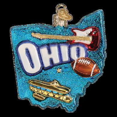 State of Ohio Glass Ornament