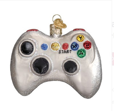 Video Game Controller Old World Christmas Glass Ornament 44094 front