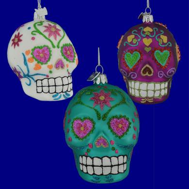 Sugar Skull Glass Ornaments