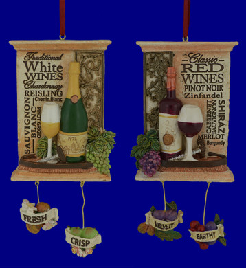 Red White Wine Vineyard Ornaments