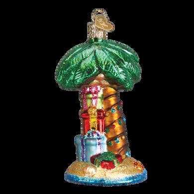 Christmas Palm Tree Glass Ornament