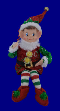 Knit Legs Boy Elf Doll Ornament or Shelf Sitter