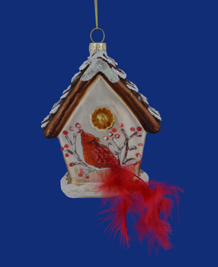 Feather Tail Cardinal Birdhouse Glass Ornament inset 1