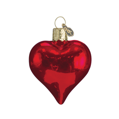 Small Shiny Red Glass Heart Glass Ornament