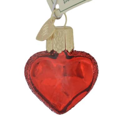 Miniature Red Heart Glass Ornament