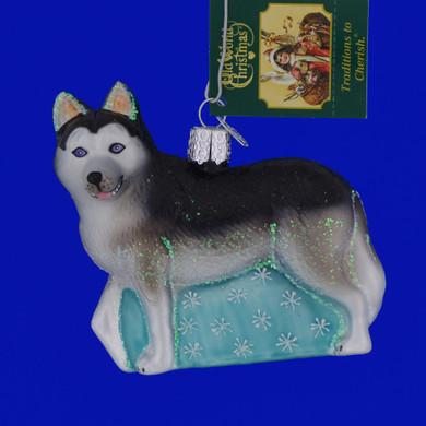 Siberian Husky Glass Ornament by Old World Christmas 12489