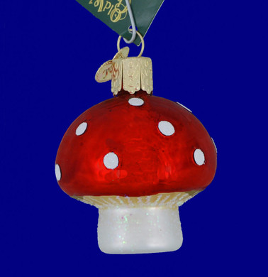 Red Mushroom Glass Ornament by Old World Christmas 28118