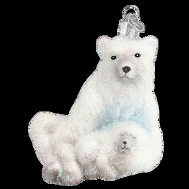 Glistening Polar Bear with Cub Glass Ornament