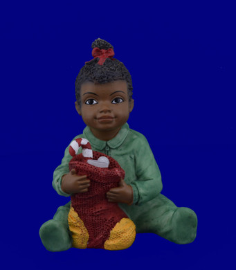 African American Toddler Girl with Christmas Stocking Figurine