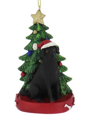 Black Lab with Christmas Tree Ornament