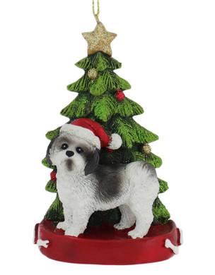 "White and Black Shih Tzu Christmas Tree Ornament, "", KAC7954SH_blk"