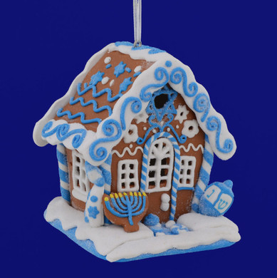 Hanukkah Gingerbread House Ornament LED
