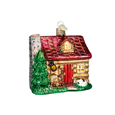 Christmas Cabin Glass Ornament - Cottage