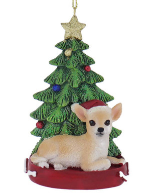 Chihuahua with Christmas Tree Ornament