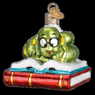 Bookworm Glass Ornament