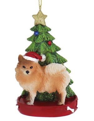 Pomeranian with Christmas Tree Ornament