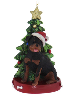Rottweiler with Christmas Tree Ornament