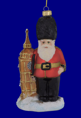 London Big Ben Beefeater Guard Glass Ornament