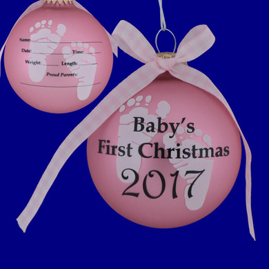 """Dated 2017 Pink Baby's First Christmas Glass Ornament for Personalizing, 3 3/4"""", KRCBK710004A-P Made in USA"""