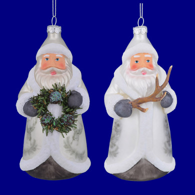 Owl or Deer Coat Lodge Theme Santa Glass Ornaments