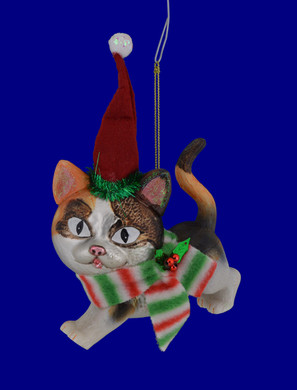 Party Night Calico Cat Glass Ornament